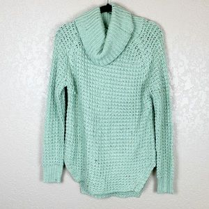 Sweaters - Mint Green cowl turtleneck speckled chunky sweater